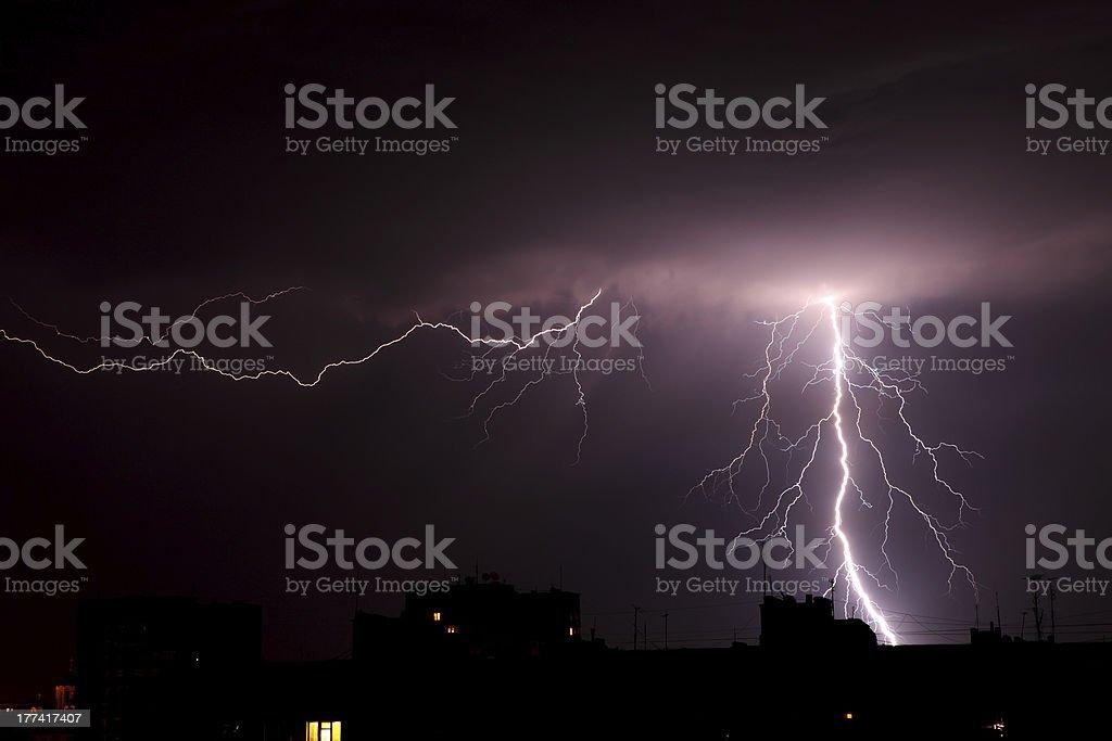 Lightning a thunderstorm royalty-free stock photo
