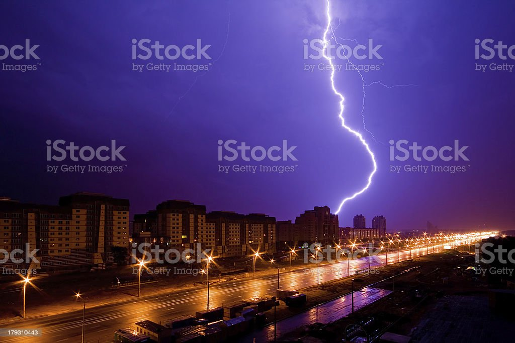 Lightning above night city royalty-free stock photo