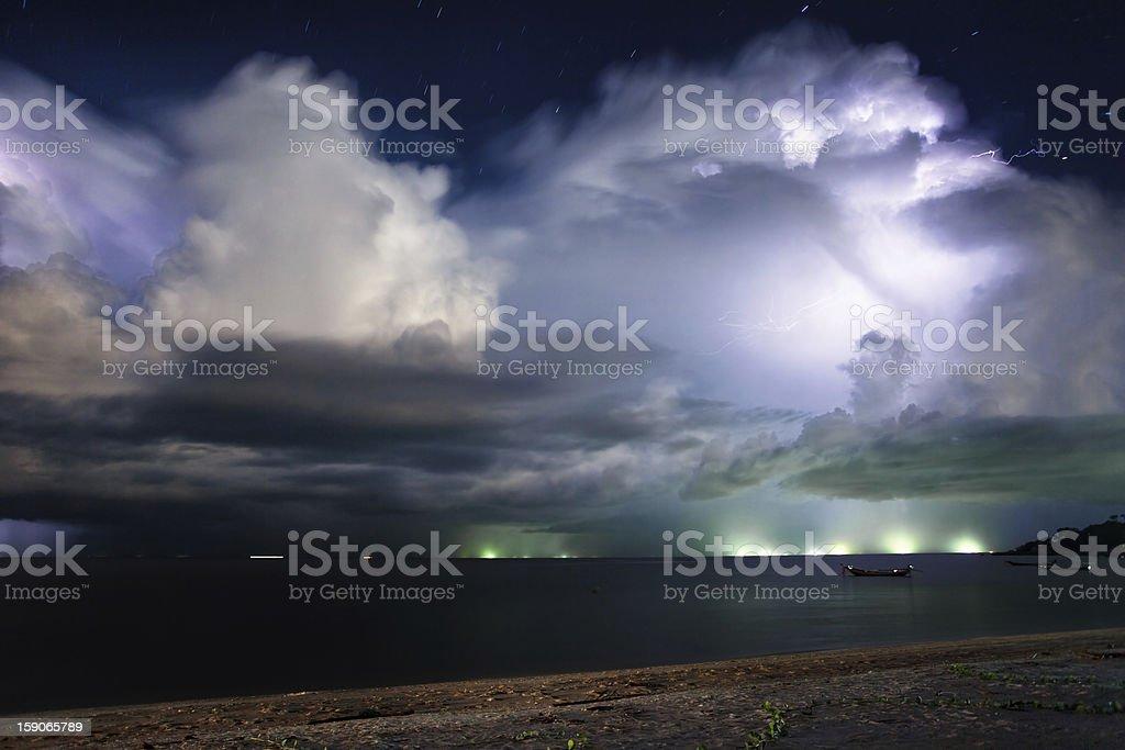 Lightning above the sea. Thailand stock photo