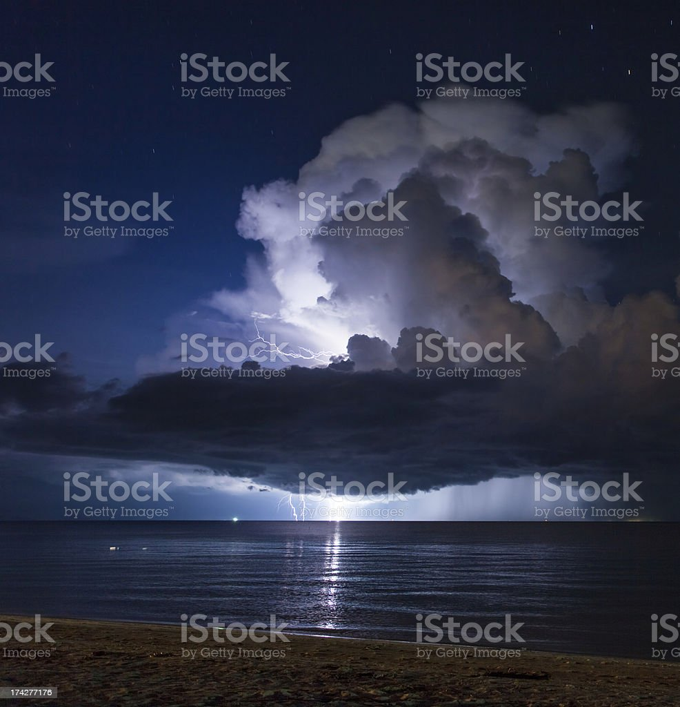Lightning above the sea. Thailand stock photo