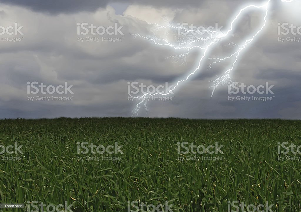 Lightning across the countryside field. royalty-free stock photo