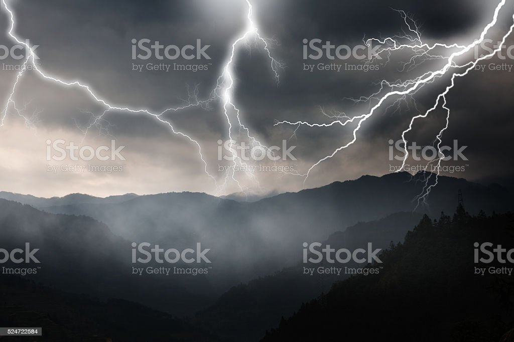 lightning and mountains stock photo