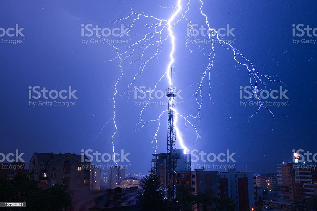 lightning and rain drops royalty-free stock photo