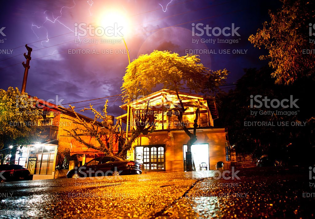Lightning and storms loom over the streets of Iguazu, Argentina stock photo