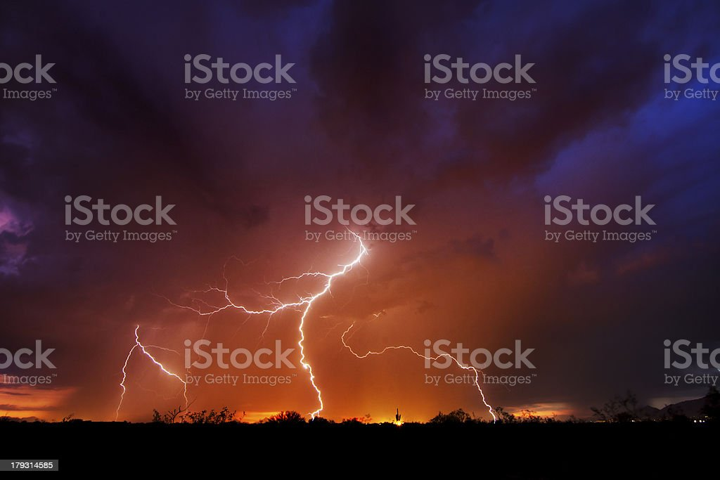 Lightning and Sunset stock photo