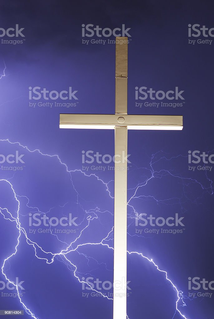 Lightning and the Cross V royalty-free stock photo