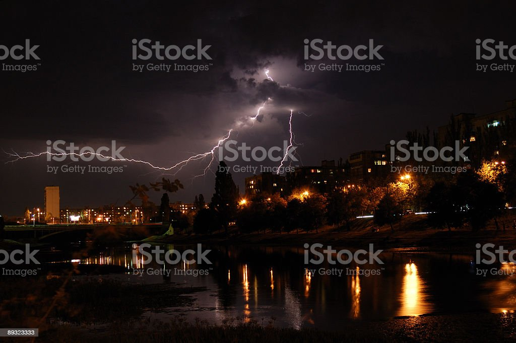 Lightning and thunderstorm in the city royalty-free stock photo