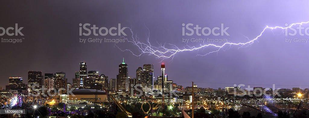 Lightning bolt over Denver Skyline stock photo