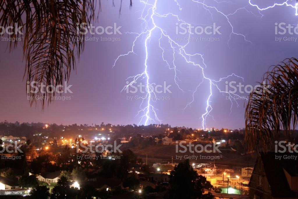 Lightning bolt Vista, California stock photo