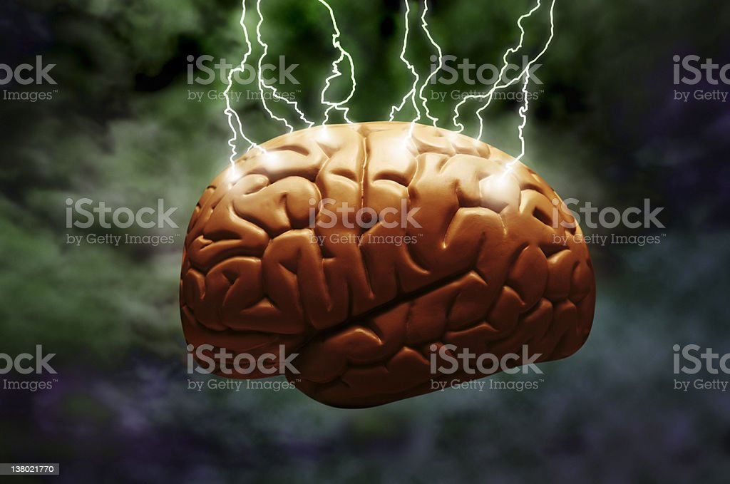 Lightning brain royalty-free stock photo