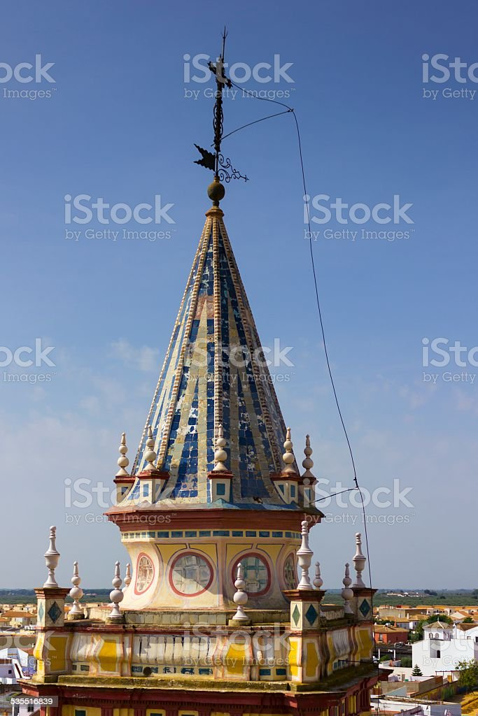 Lightning conductor on a church spire stock photo