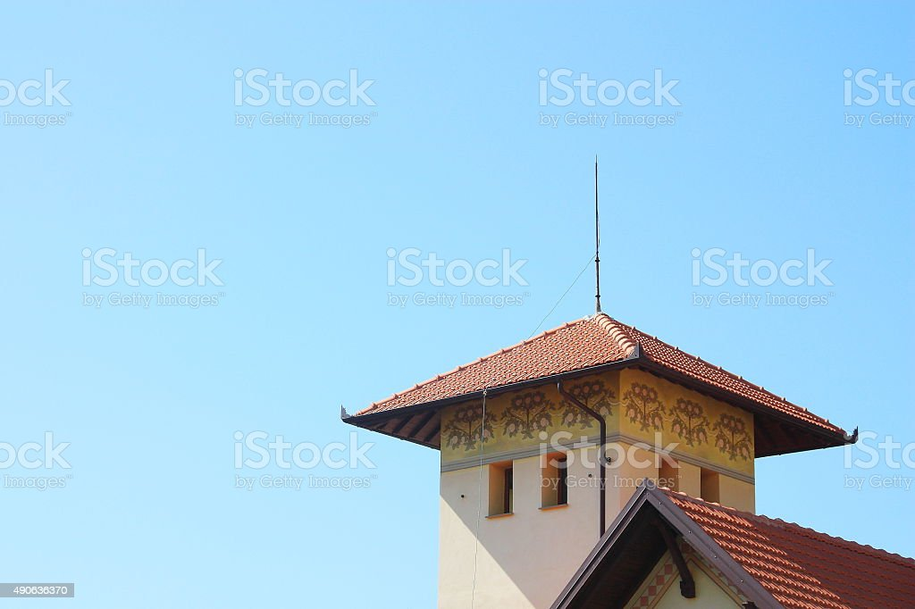 Lightning conductor rod on a rooftop stock photo