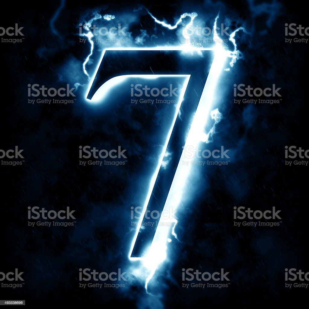 Lightning digit 7 stock photo