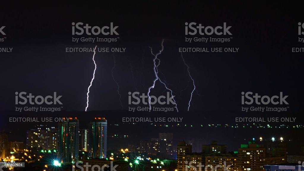 lightning discharge stock photo