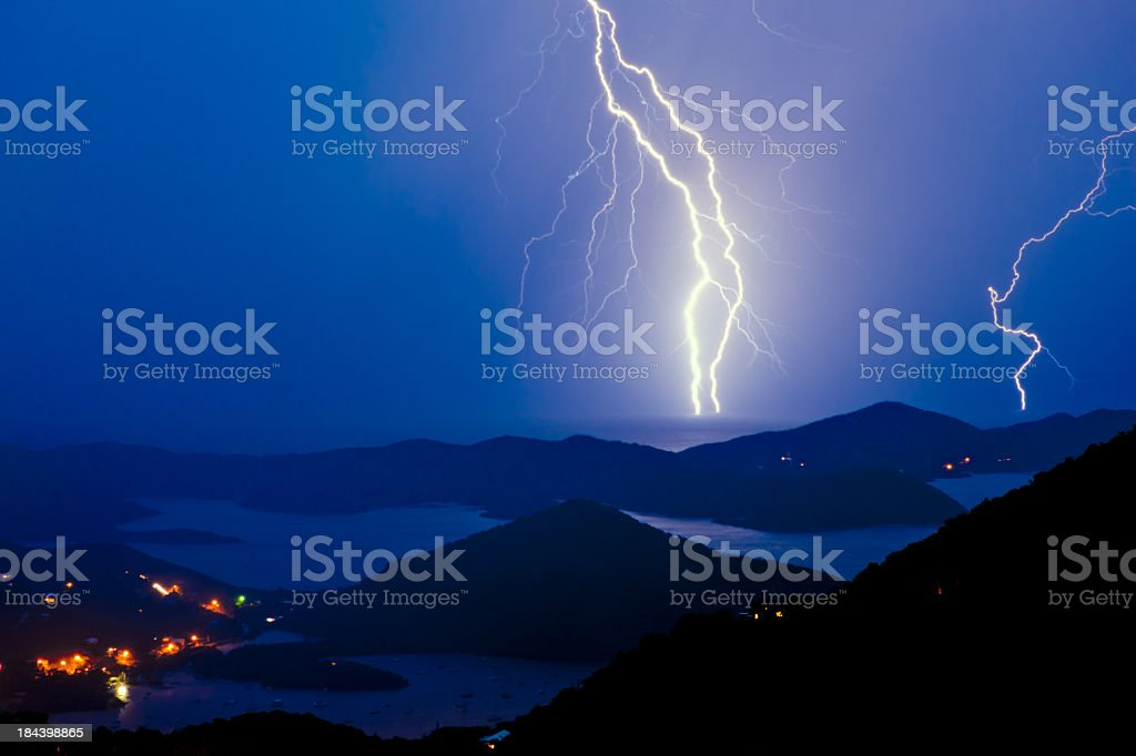 lightning during tropical thunderstorm over the Virgin Islands stock photo