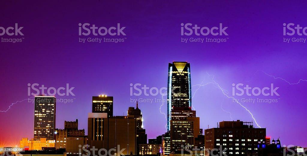 Lightning in Oklahoma City stock photo