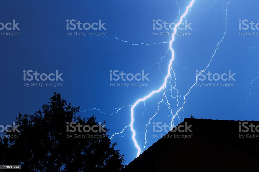Lightning in the city stock photo