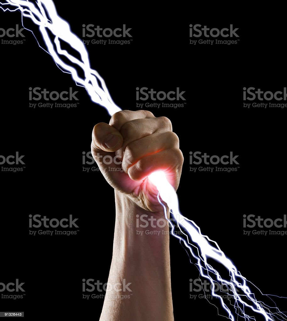 lightning in the fist stock photo