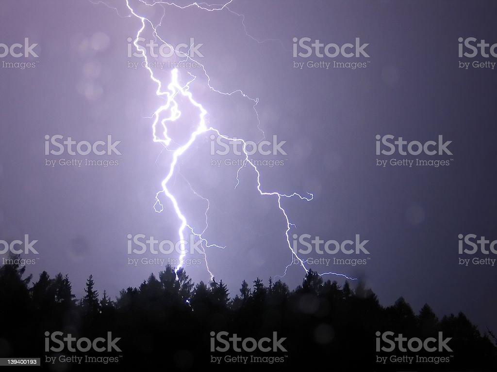 Lightning in the night rain royalty-free stock photo