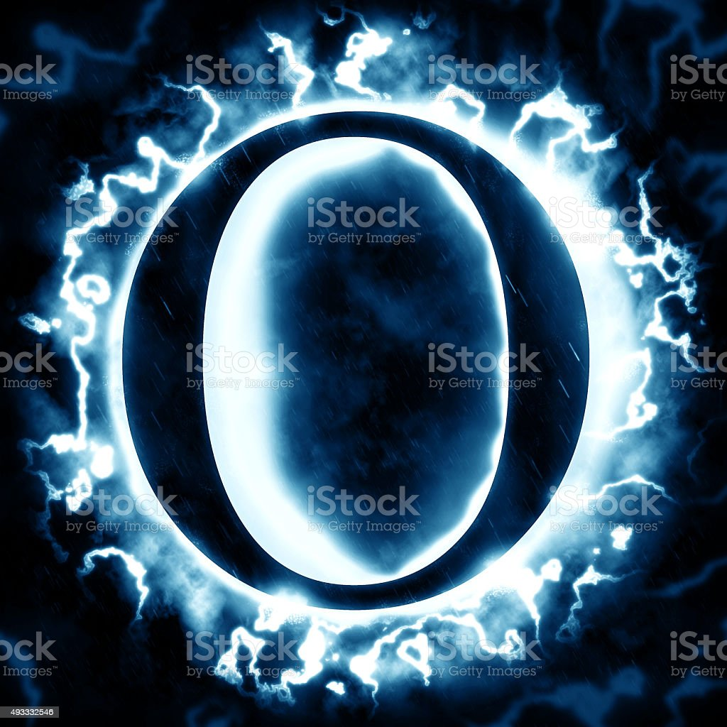 Lightning letter O stock photo