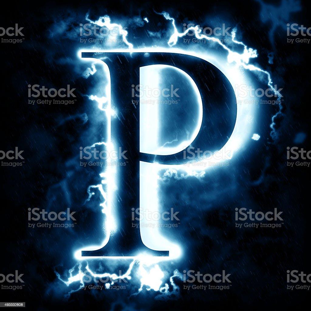 Lightning letter P stock photo