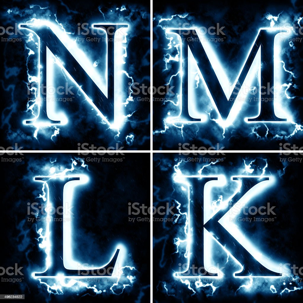 Lightning letters N M L K stock photo