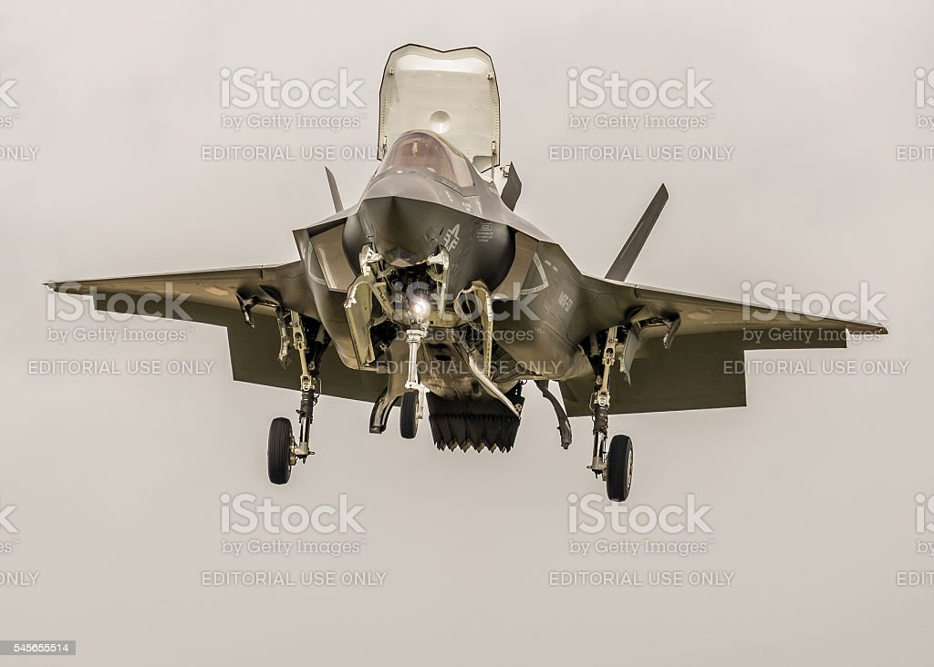 F-35 Lightning new fighter jet - vertical flight stock photo