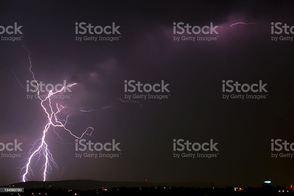 Lightning over a city royalty-free stock photo