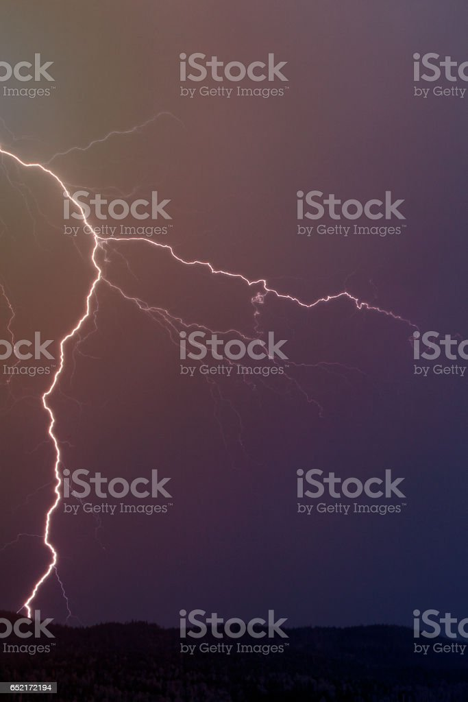 Lightning over a Mountain stock photo