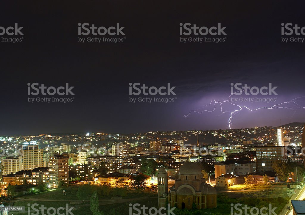 Lightning Over a Troubled Town (Prishtina, Kosovo) royalty-free stock photo