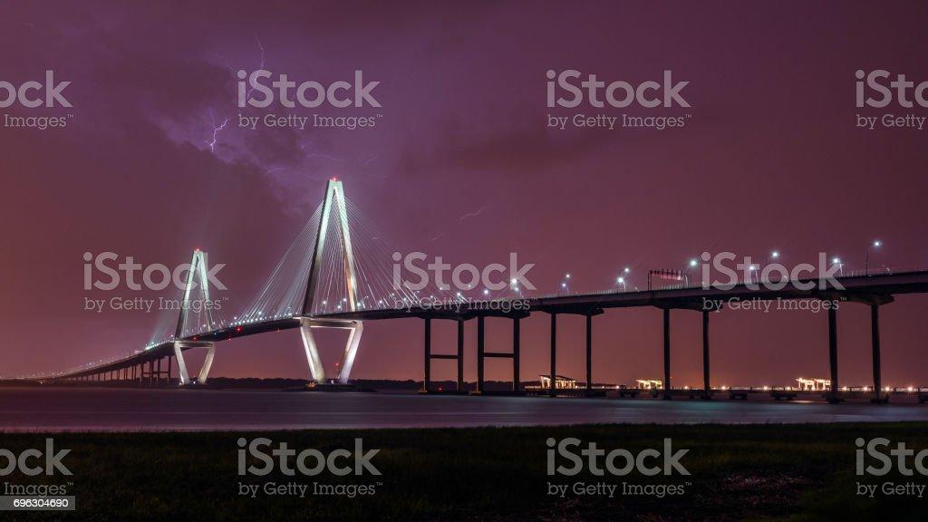 Lightning Over Arthur Ravenel Jr Bridge stock photo