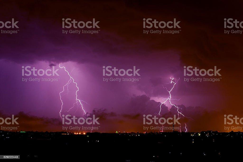 lightning over beijing stock photo