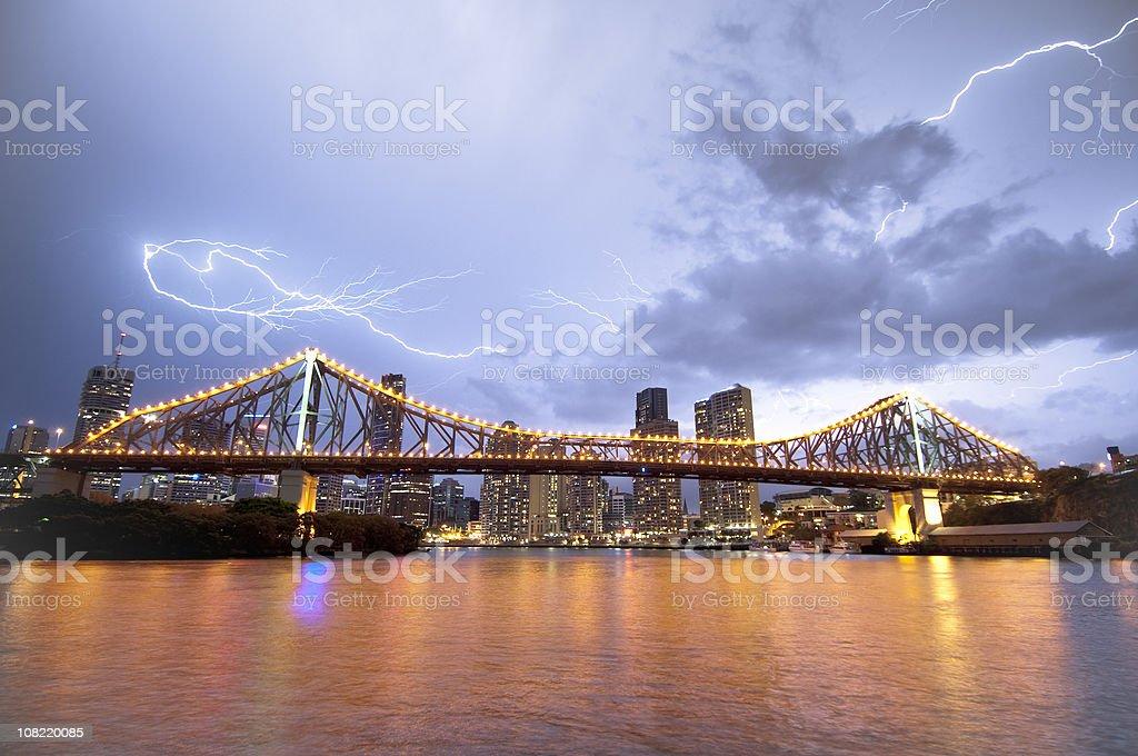 Lightning over Brisbane stock photo