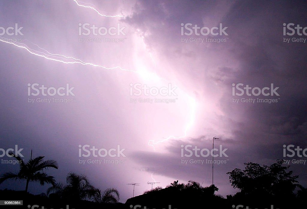 Lightning Over house royalty-free stock photo