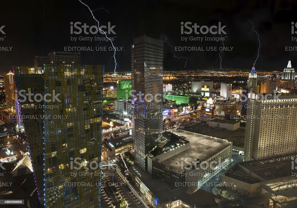 Lightning over Las Vegas Veer Towers, Aria, MGM, Monte Carlo stock photo