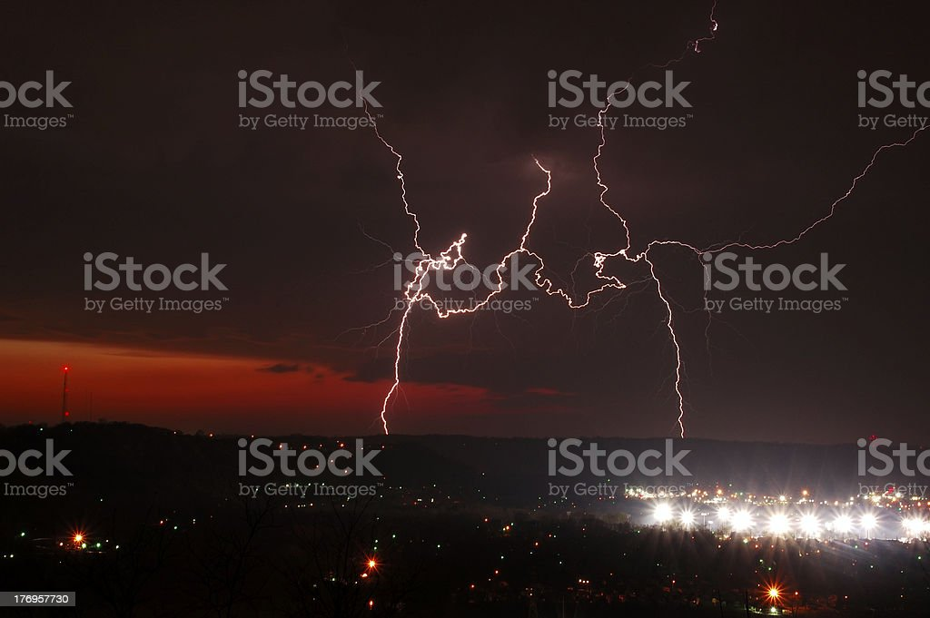 Lightning Over Licking Valley stock photo