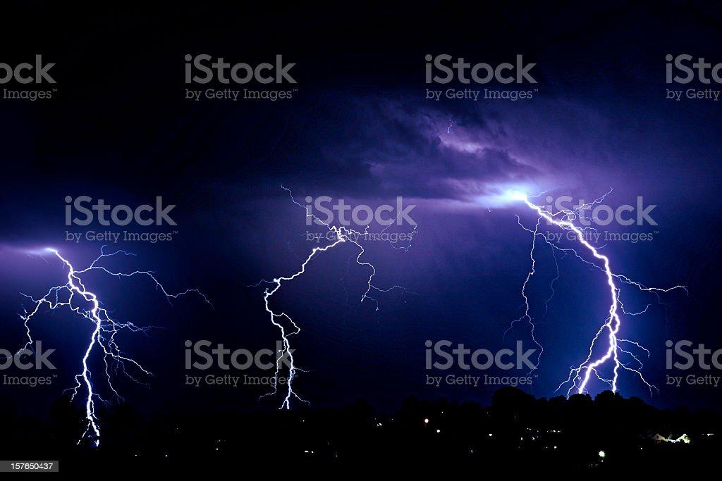 Lightning over suburbs royalty-free stock photo