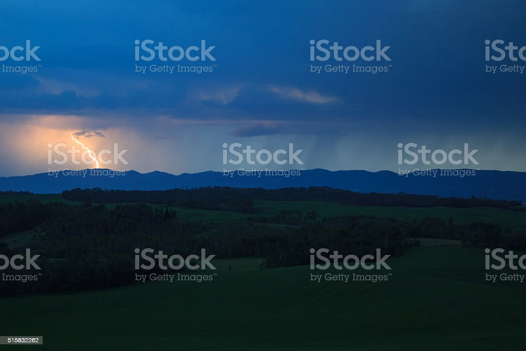 Lightning Over The Big Holes stock photo