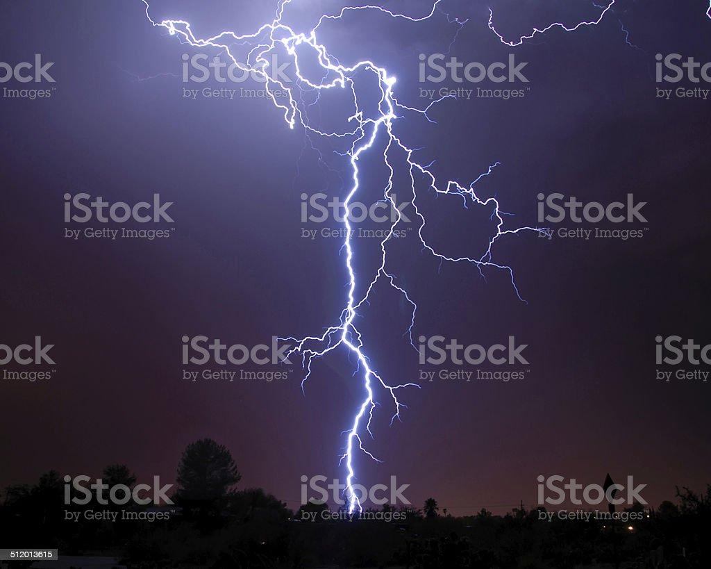Lightning over Tucson AZ stock photo