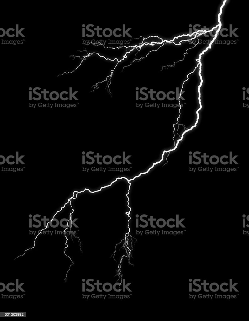 Lightning piercing night sky stock photo