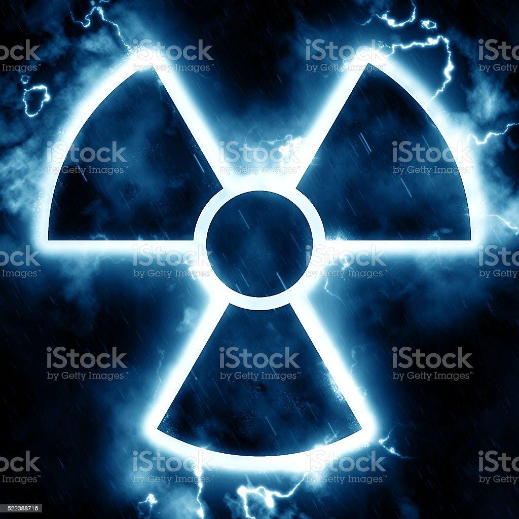 Lightning radiation hazard sign stock photo