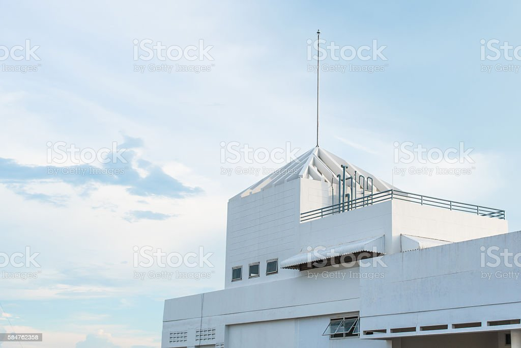 lightning rod on the building have cloudy and sky stock photo