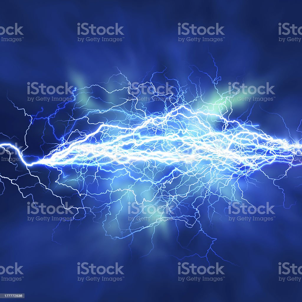 Lightning sparks effect over a blue background stock photo