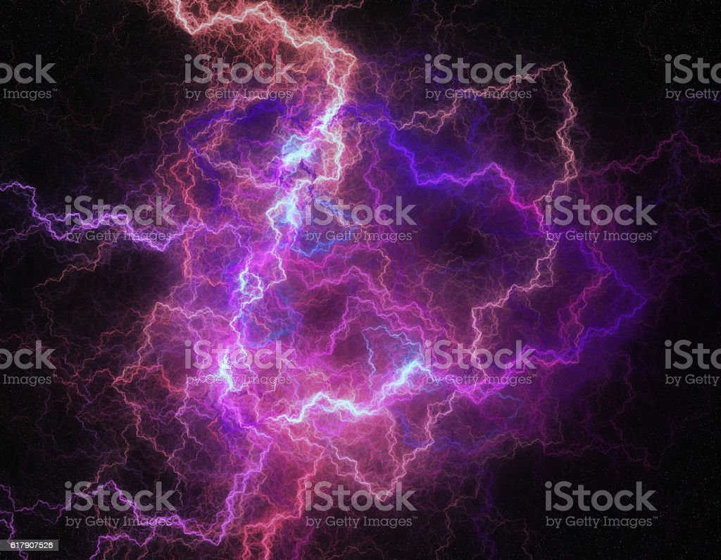 Lightning storm like space abstract background. stock photo