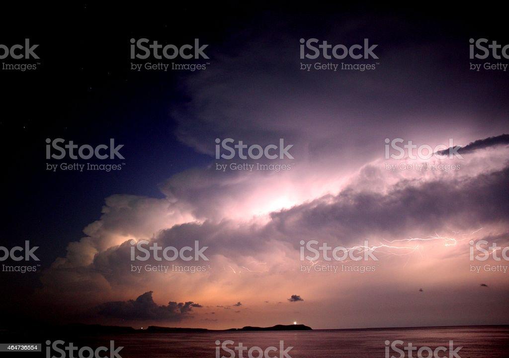 Lightning Storm on Ibiza stock photo