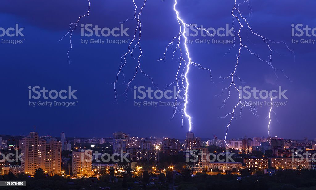 lightning storm over city royalty-free stock photo