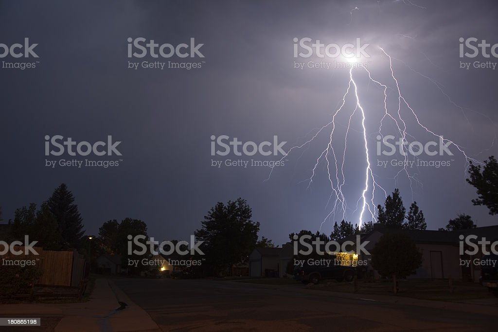 Lightning storm over Denver homes copy space royalty-free stock photo