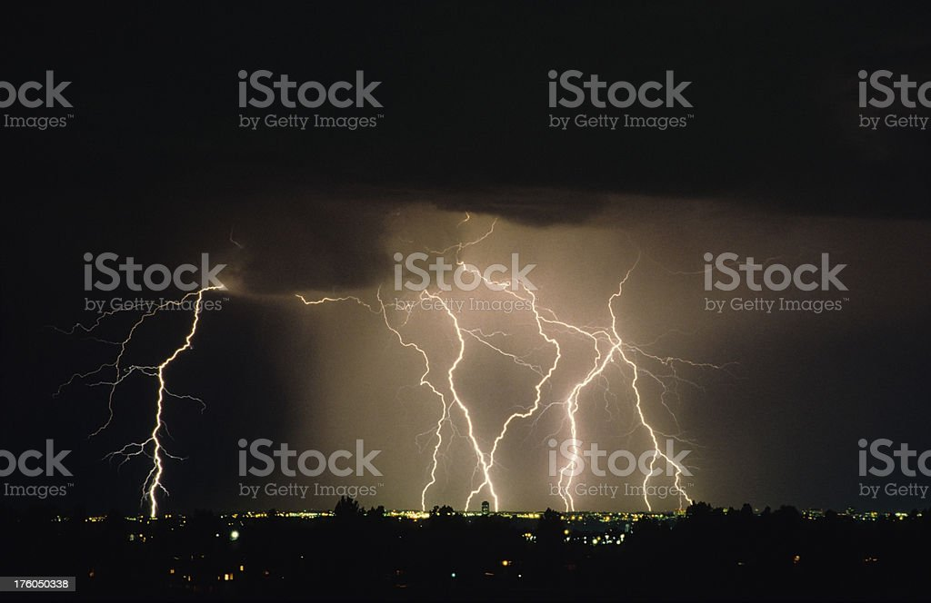 Lightning Storm over Denver Tech Center, Colorado stock photo