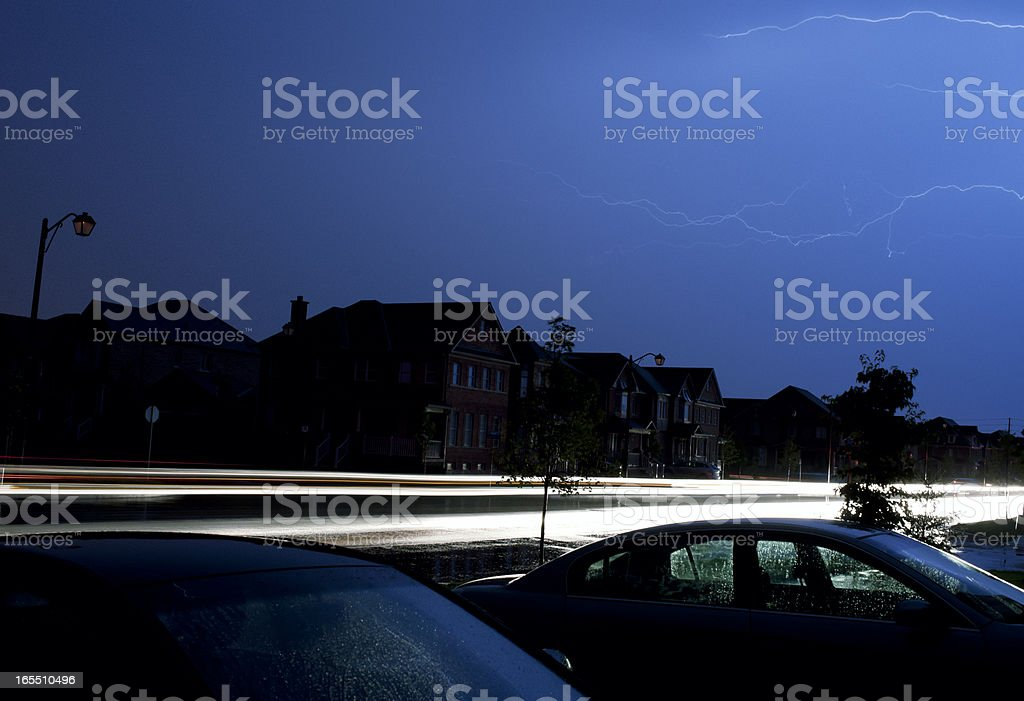 Lightning Storm Over Suburban Neighbourhood stock photo