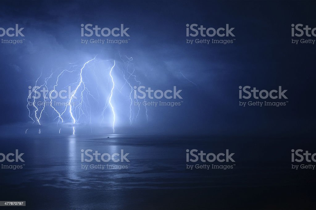 Lightning Storm Over Water stock photo